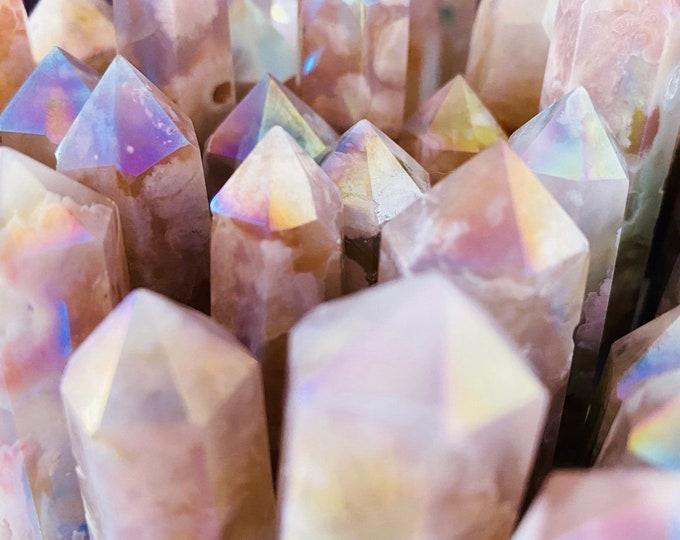 Featured listing image: Aura Flower Blossom Agate Crystal Towers / Crystal Of Manifestation & Self Growth / Feminine Energy / Good For Flourishing Entrepreneurs