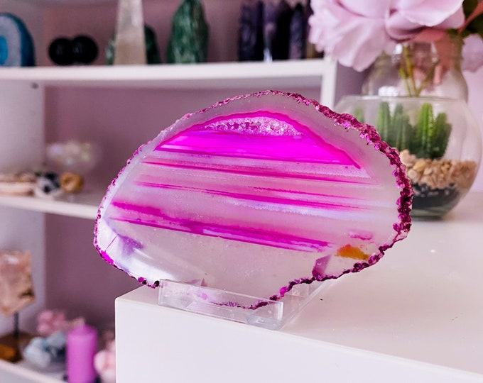 13) Dyed Pink Agate Druzy Slice Crystal / Crystal Coaster / Transforms Negative Energy / Balances & Harmonises Energy In Your Home