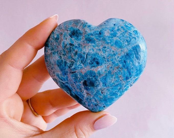 Large Blue Apatite Crystal Love Heart / Blocks Negativity / Helps Children With Hyperactivity & Autism In Children / Balances Chakras