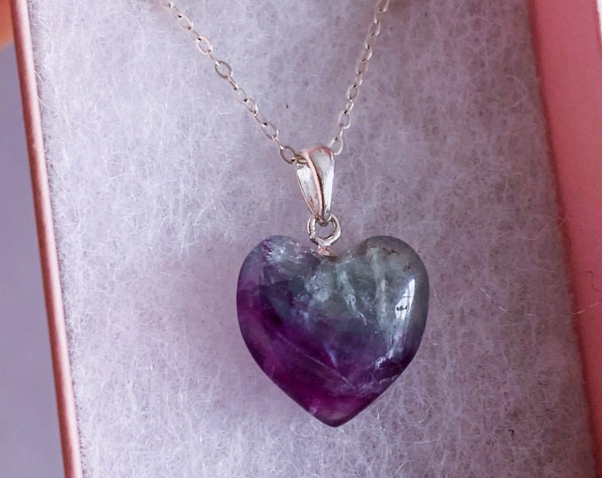 Sterling Silver Rainbow Fluorite Love Heart Necklaces / Choose Your Own / Absorbs Anxiety, Worry, Stress & Tension / Concentration, New Job