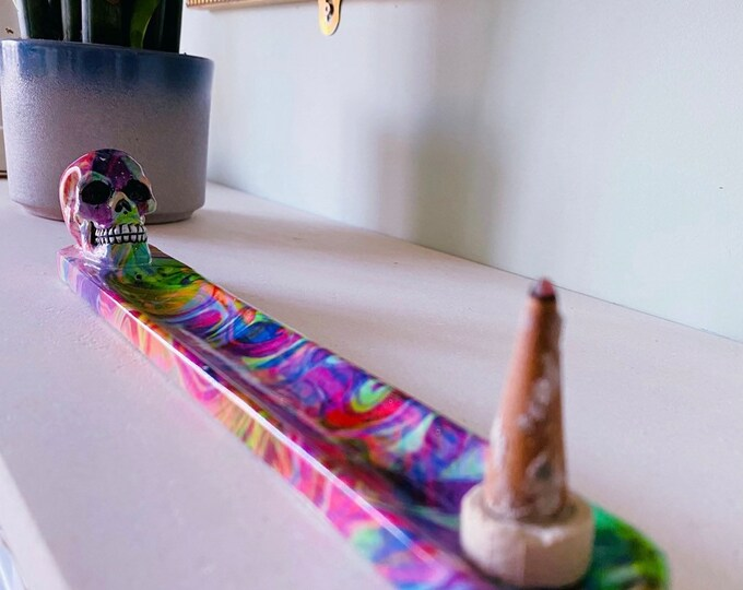 Rainbow Marble Skull Incense Holder / Free Incense Sticks / Incense Stick Holder / Incense Sticks / Home Fragrance / Crystal Cleanse