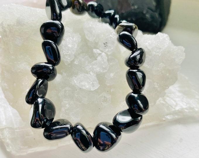 Black Obsidian Crystal Tumblestone Bracelet / Blocks Negativity / Absorbs Tension & Stress / Grounding / Super Protective / Reduces Anger