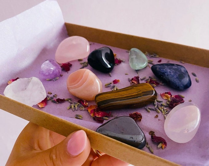 The Beginners Crystal Healing Gift Kit / Detox Yourself / Get Rid Of Negativity & Learn How To Block It / Create Tranquility, Calmness, Love