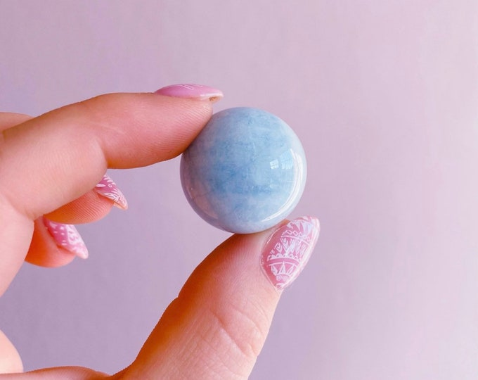 Aquamarine Crystal Sphere / Discourages Miscarriage / Quietens A Busy Mind / Reduces Stress / Increases Courage