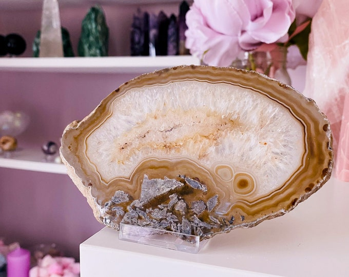 21) Natural Agate Druzy Slice Crystal / Crystal Coaster / Transforms Negative Energy / Balances & Harmonises Energy In Your Home