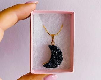 Black Quartz Moon Druzy Crystal Necklace Gold Plated / Helps Emotional Problems / Purifies Negativity / Boosts Creativity & Imagination