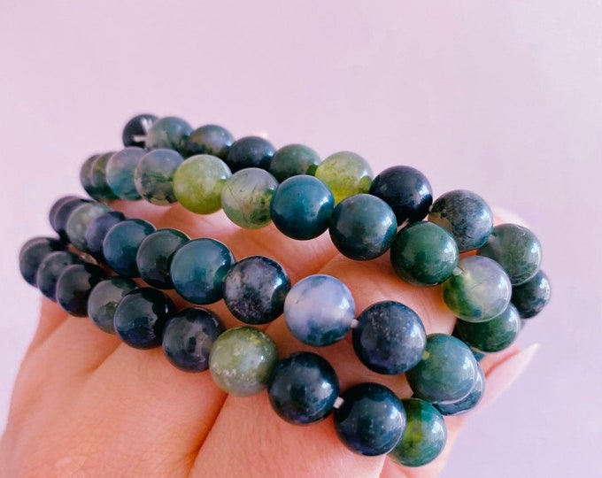 Green Moss Agate Crystal Bead Bracelets / For New Beginnings / Refreshes The Soul / Improves Self Esteem / Reduces Depression