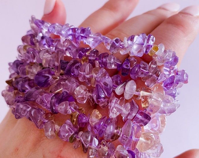 Ametrine Crystal Chip Bracelet / Great Healer, Good For Anxiety & Claming / Good For Sleeping Troubles / Great For Migraines / Relaxing