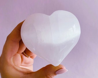 Selenite Crystal Hearts Small + Large / Helps You To Deal With Abuse / Good For A Balanced Sex Drive / Good For Acne, Psoriasis & Eczema