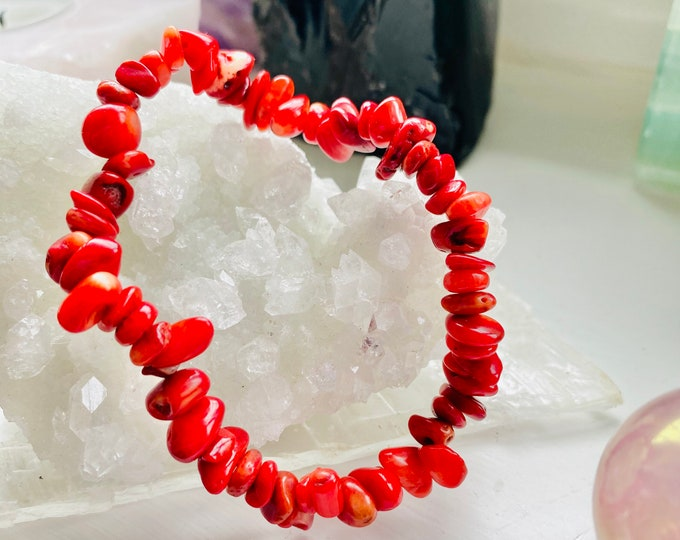 Sea Bamboo Coral Chip Bracelet / Banishes Fear, Nervousness, Anxiety & Nightmares / Tames Wild Tempers, Rages, Compulsive Disorders