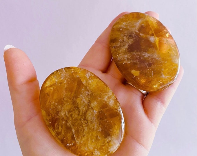 Honey Calcite Crystal Flat Stones / Rough Natural Crystals / Eases Worries, Stress & Tension / Helps Self Discovery / Peaceful + Tranquility