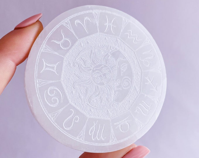 Sun, Moon + Zodiac Star Signs Selenite Cleansing & Charging Crystal Plate / Helps You To Deal With Abuse / Good For Sex Drive