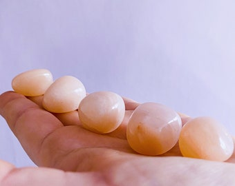 Pink Moonstone Medium Crystal Tumblestones / Soothes Depression, Anger, Worry, Anxiety / Beneficial For Pregnancy / Known As 'Woman's Stone'