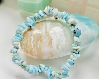 Larimar Crystal Chip Bracelet / Encourages A Relaxing, Calm Atmosphere / Good For New Mums & Post Natal Depression / Helps Fear