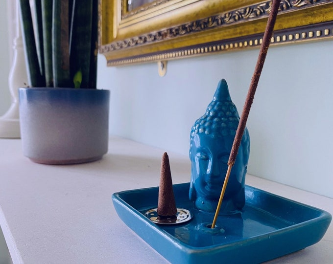 Ceramic Buddha Incense Stick & Cone Holder With Free Incense Cones / Incense Stick Holder / Incense Sticks, Incense Cones / Home Fragrance