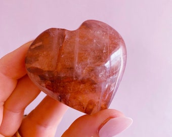 SALE! Red Hematoid Love Heart Crystal / Good For Manifestation / Balancing & Stablising / Good For ADD + ADHD / Boosts Focus + Concentration