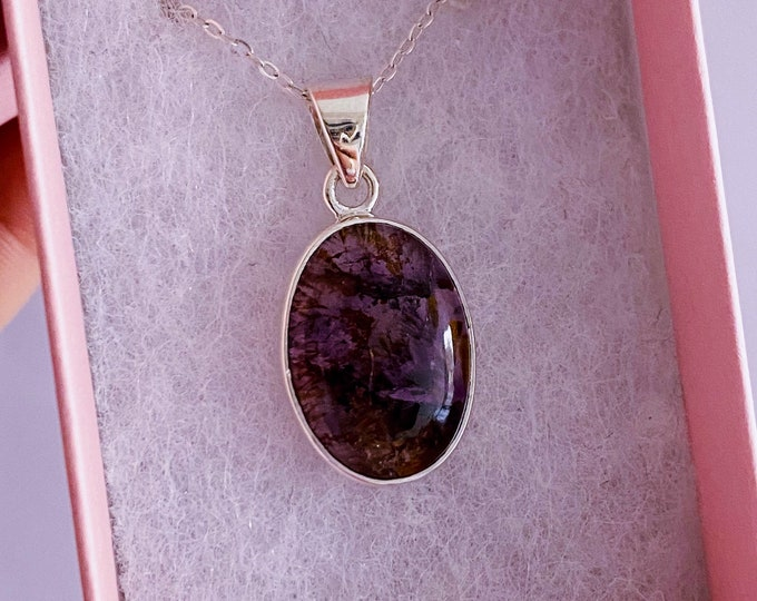 "Sterling Silver Super Seven Crystal 18"" Necklace / Powerhouse Of Psychic Energy / Stimulates The Soul, Removes Mental Blocks"