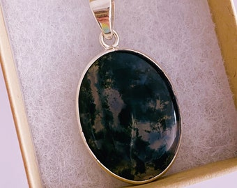 """Green Moss Agate Sterling Silver 18"""" Crystal Necklace / For New Beginnings / Refreshes The Soul / Improves Self Esteem / Reduces Depression"""