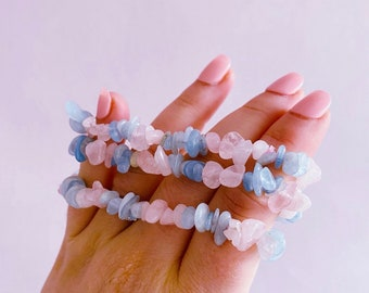 Aquamarine + Rose Quartz Crystal Chip Bracelet / Crystal Of Unconditional Love / Cleanses, Activates Heart Chakra / Eases Emotional Trauma