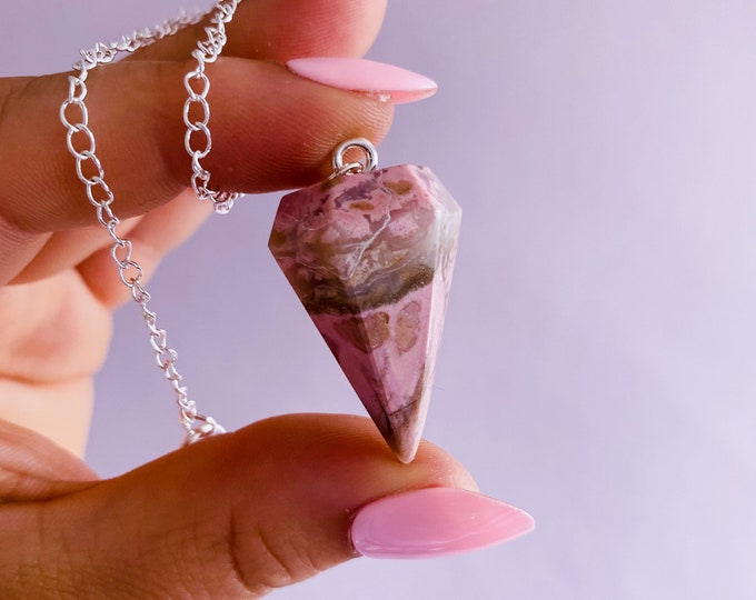 Rhodonite Large Crystal Pendulums / Clears Away Emotional Scars & Lets You Move Forward / Mental Balance / Good For ME And Schizophrenia