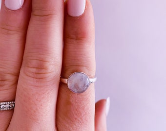 Pink Moonstone Sterling Silver Crystal Ring Size P / Improves Inner Confidence / Allows Us To See More Clearly / Life Changing Inspiration