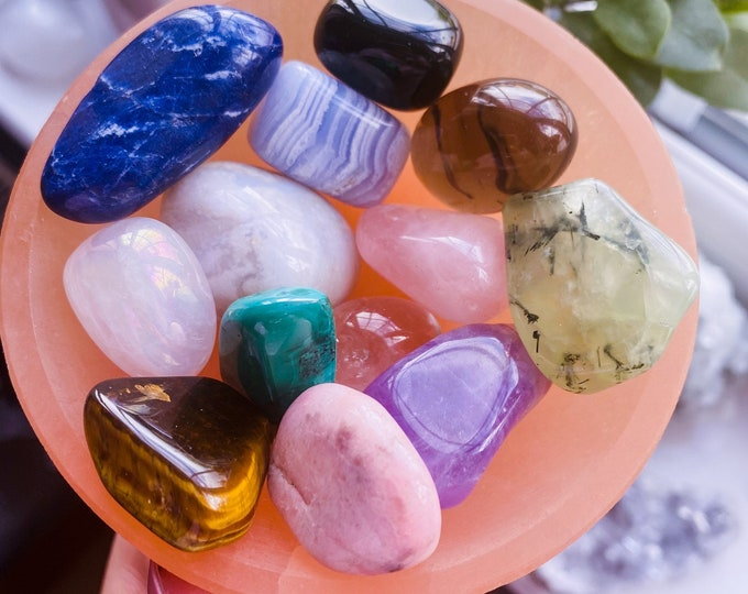 Peach Selenite Cleansing & Charging Crystal Bowl / Helps You To Deal With Abuse / Good For A Balanced Sex Drive / Good For Acne + Eczema