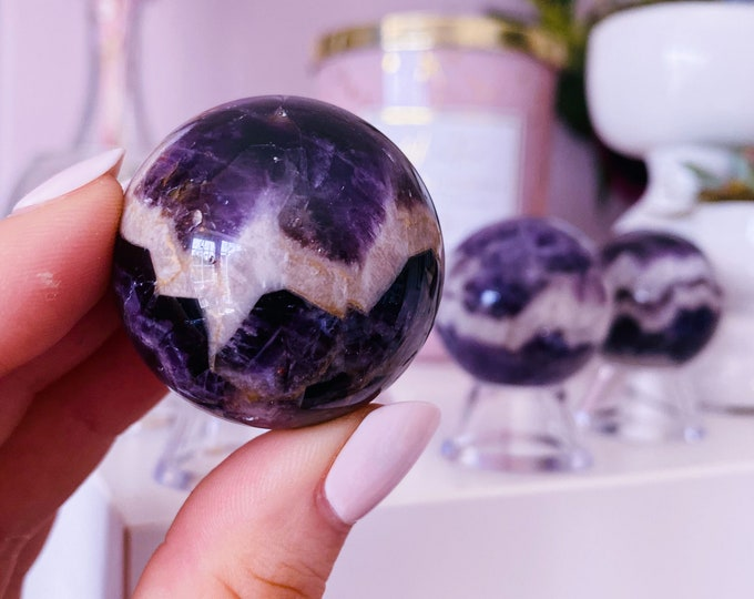 Dream Amethyst 35mm Crystal Spheres / Great For Nightmares, Insomnia, Migraines / Dispells Negativity / Cleanses Your Aura