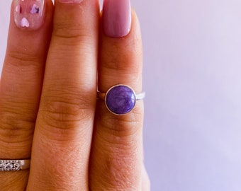 Charoite Sterling Silver Crystal Ring Size M / Change & Positive Transformation / Reduces Stress, Worries / Works With Heart Chakra