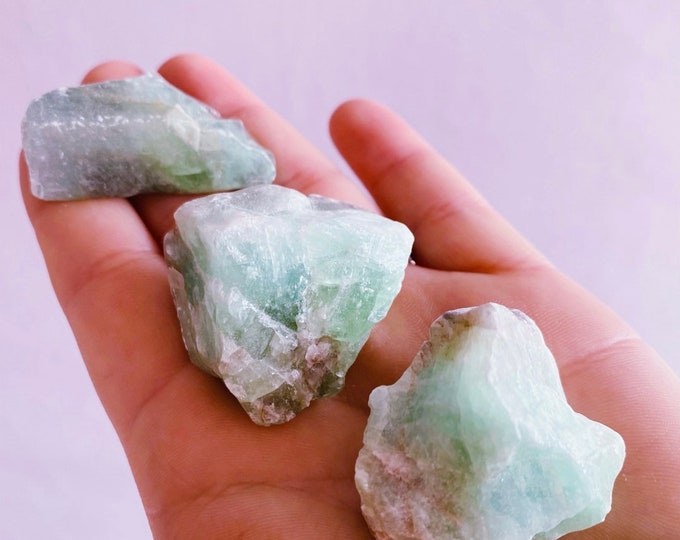 Medium + Small Green Calcite Rough Crystals / Aids With Self Discovery / Brings Purpose To Your Life / Eradicate Old Habits & Patterns
