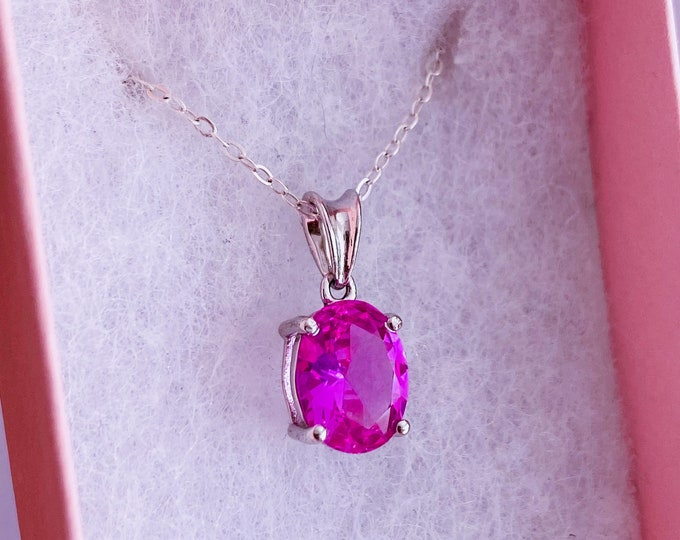 """Siberian Pink Sapphire Sterling Silver Crystal 18"""" Necklaces / Increases Intuition, Clarity & Good Luck / Highly Protective"""
