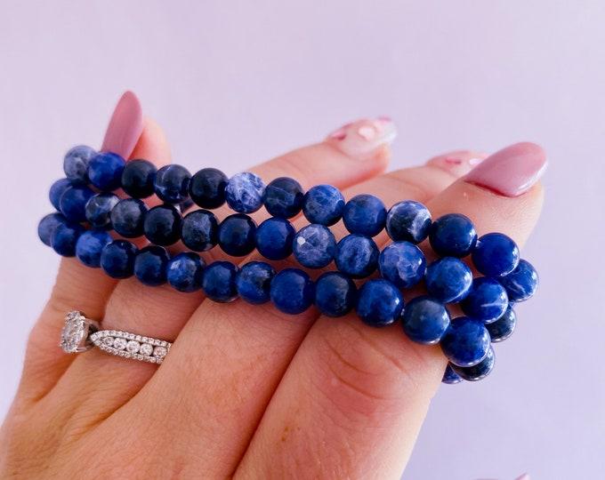Sodalite Crystal Bead Bracelets / Calms Panic Attacks, Creates Emotional Balance / Encourages You To Verbalise Feelings & Speak The Truth