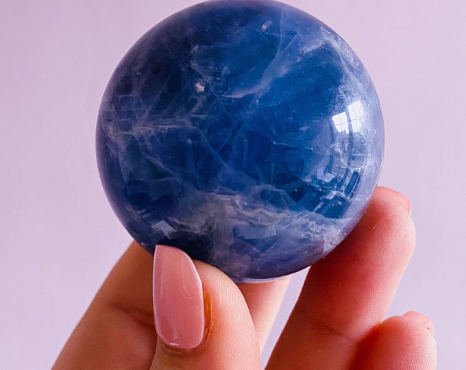 3) Rainbow Fluorite Purple 45mm Crystal Sphere / Absorbs Anxiety, Stress, Tension / Concentration / Good For Exams, New Job, Course Work