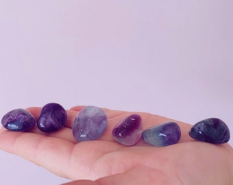 Rainbow Fluorite Med Polished Crystal Tumblestones / Absorbs Anxiety, Stress, Tension / Concentration / Good For Exams, New Job, Course Work