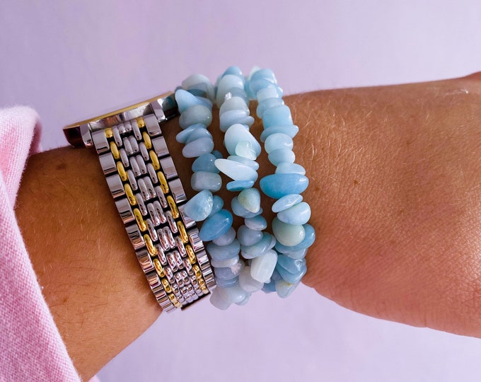 Amazonite Crystal Chip Bracelets / Calming, Soothing, Calms Bad Tempers, Allows You To Express True Thoughts & Feelings / Provides Harmony