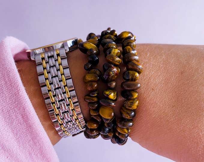 Lucky Tigers Eye Crystal Chip Bracelets / Grounding, Protective / Alleviates Fear & Anxiety / Focuses The Mind / Helps Decision Making