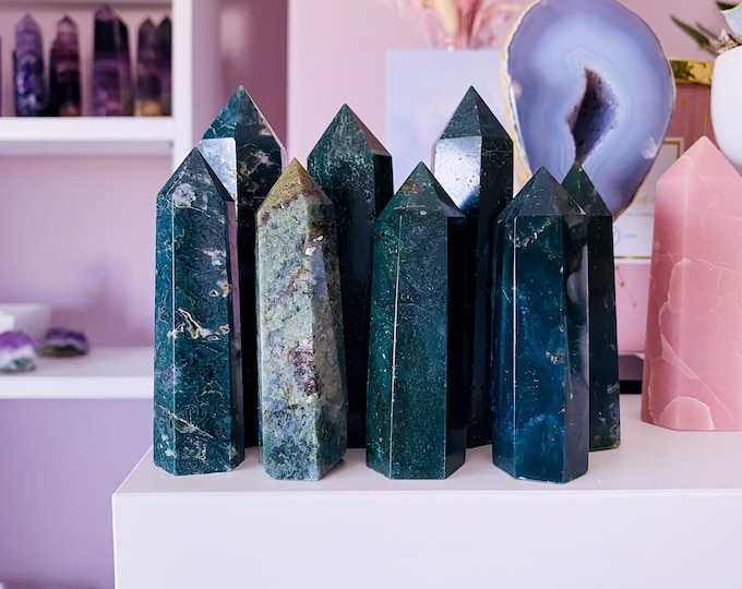 Green Moss Agate Crystal Tower Points / For New Beginnings / Refreshes The Soul / Improves Self Esteem / Reduces Depression