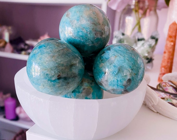 Amazonite Crystal Spheres + Stand / Calming, Soothing, Calms Bad Tempers, Allows You To Express True Thoughts & Feelings / Provides Harmony