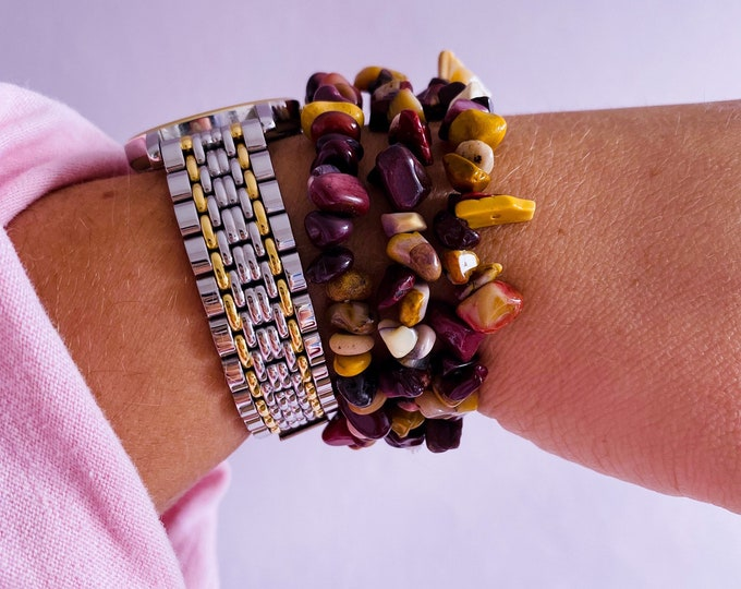 Mookaite Jasper Crystal Chip Bracelets / Heals Deep Emotional Wounds / Helps Depression / Brings Peace / Helps You Accept Change