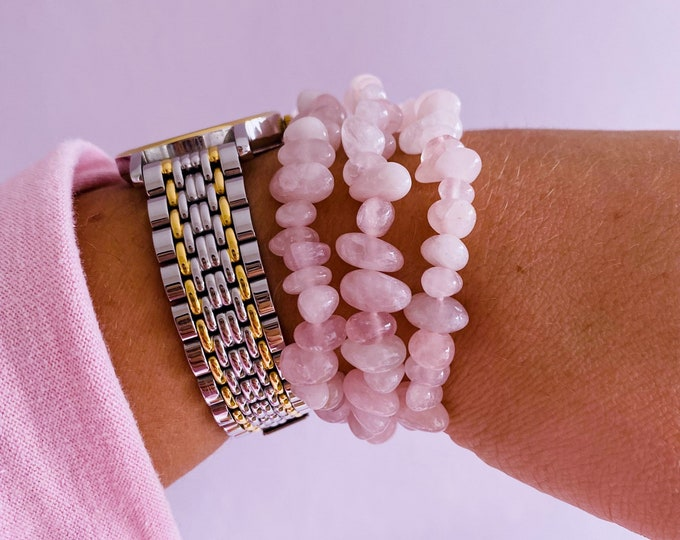 Madagascan Super Pink Rose Quartz Crystal Chip Bracelets / Encourages Self Love, Unconditional Love & Reduces Anxiety / The Crystal Of Love