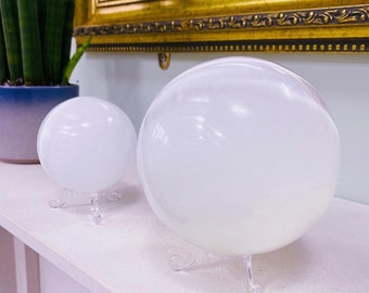 Selenite Large Crystal Spheres / Helps You To Deal With Abuse / Good For A Balanced Sex Drive / Good For Acne, Psoriasis & Eczema