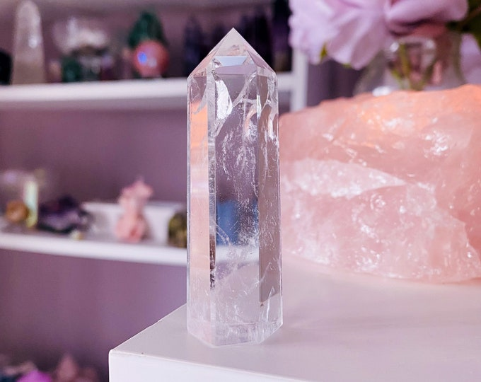 Small Clear Quartz Crystal Rainbow Filled Towers / 'The Master Healer' / Amplifies Intention & Energy / Protects Against Negativity