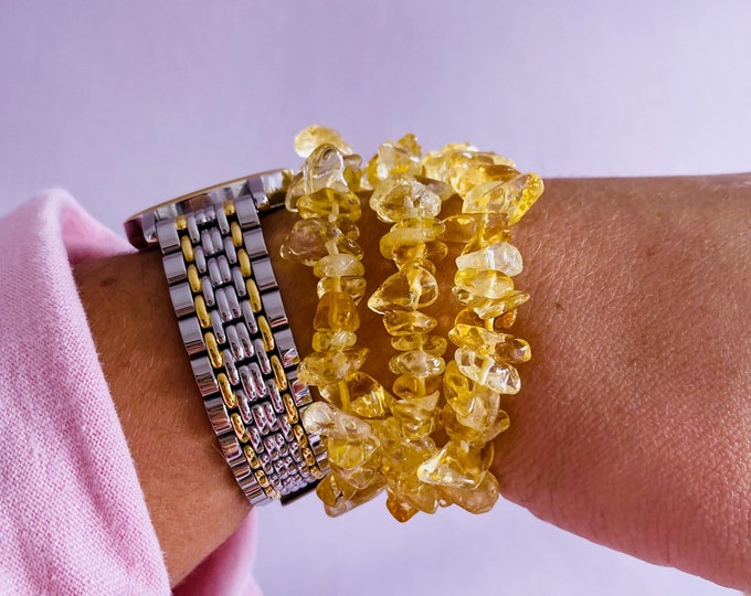 Citrine Sunshine Crystal Chip Bracelets / 'The Money Stone' Great For Business Owners / The 'Happy Stone' For Joy, Abundance & Wealth