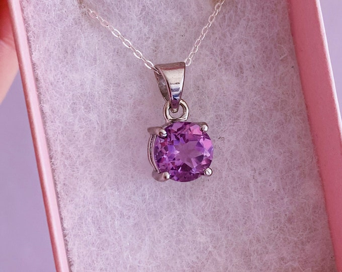 """Faceted Amethyst Sterling Silver Crystal 18"""" Necklace / Increases Spirituality, Eases Anxiety & Stress / Highly Protective / Christmas Gift"""