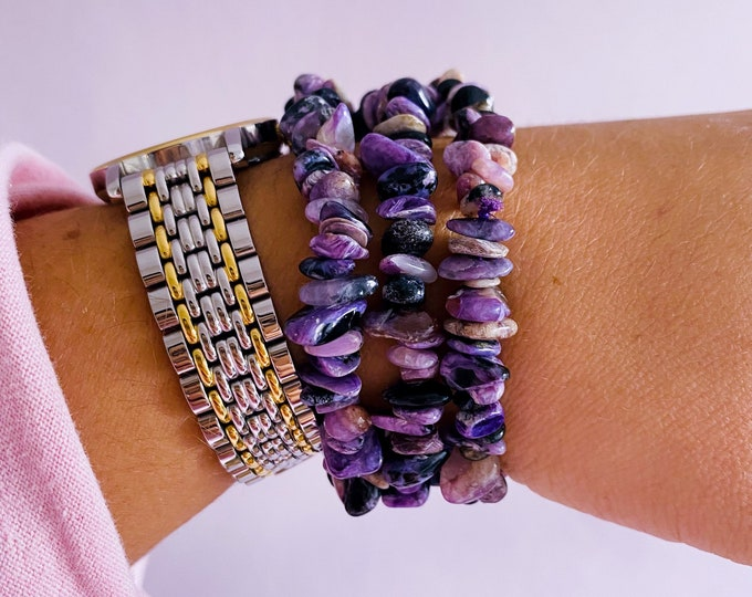 Charoite Crystal Chip Bracelets / Change & Positive Transformation / Reduces Stress, Worries / Works With Heart Chakra