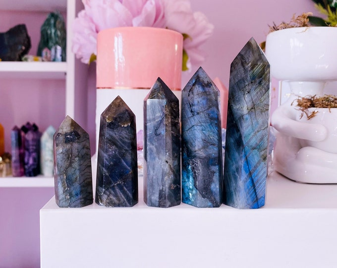 Flashy Labradorite Crystal Tower Points / Helps Transformation & Change, Inspires You To Achieve Your Dreams / Uplifts Your Mood