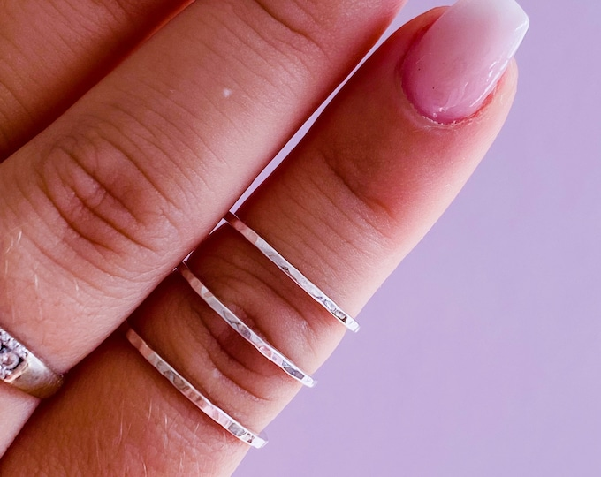 Sterling Silver Stacking Hammered Rings / Various Sizes / Silver Band Ring / Plain Ring / Stacking Ring / Hammered Ring / Handmade / Gift