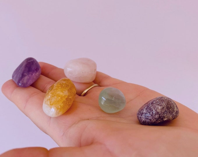 Goodbye Anxiety Crystal Prescription Kit / Absorbs Anxiety, Reduces Stress, Tension / Turns Negative Energy Into Positive / Boosts Happiness