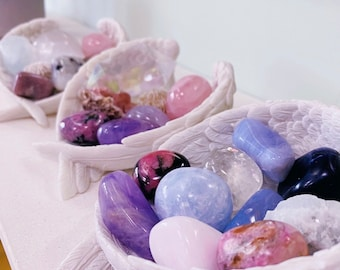 Angel Wings Crystal Holder Ceramic Bowl / Small + Large Available / Home Decor / Altar / Crystal Dish / Angel Bowl / Gift For Her
