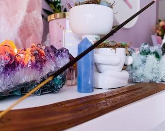 Natural Wooden Flower Incense Stick Holder / Incense Stick Holder / Incense Sticks, Incense Cones / Home Fragrance / Crystal Cleanse