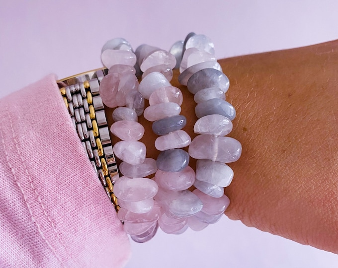 Lunar Rose Quartz Unique Crystal Chunky Chip Bracelets / Encourages Self Love, Unconditional Love & Reduces Anxiety / The Crystal Of Love